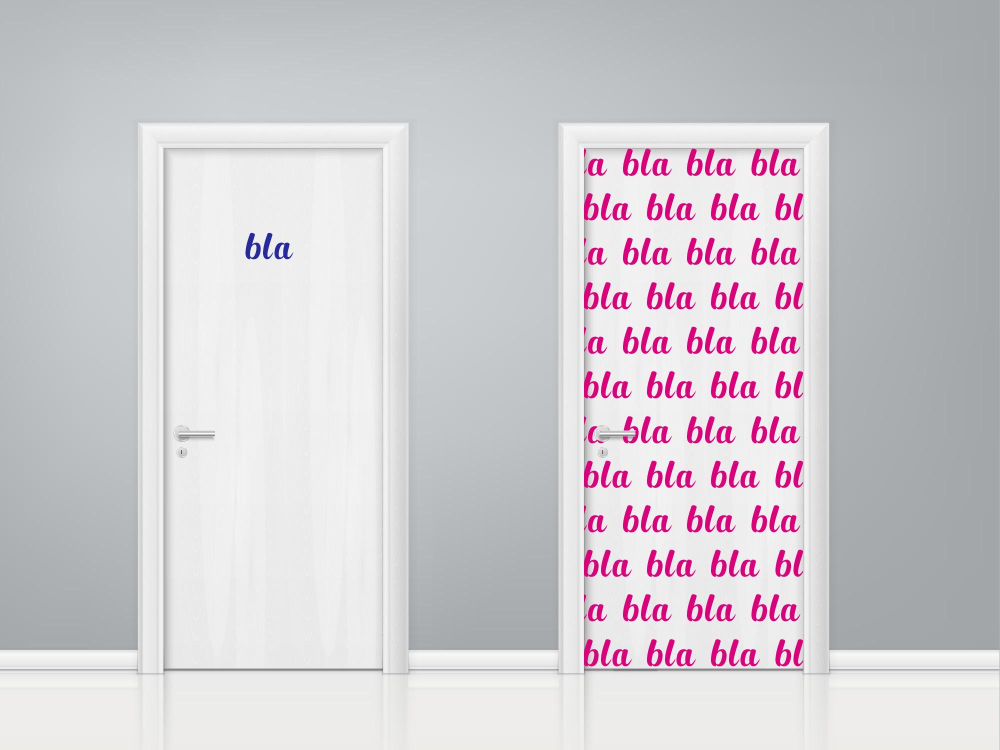 Aufkleber Türaufkleber Bad WC Mann Frau SET Bla Bla Bla Toilette Fun Sticker Farbe Blau und Pink