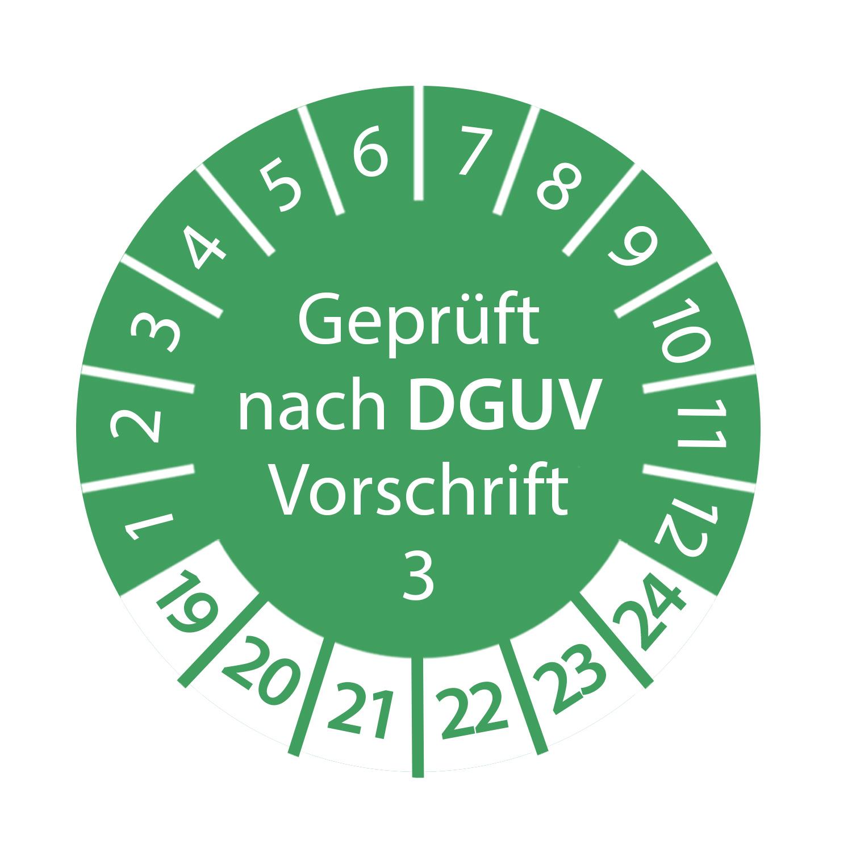 Prüfplakette 3cm rund - Geprüft nach DGUV Vorschrift 3 2019 - 2024 Grün