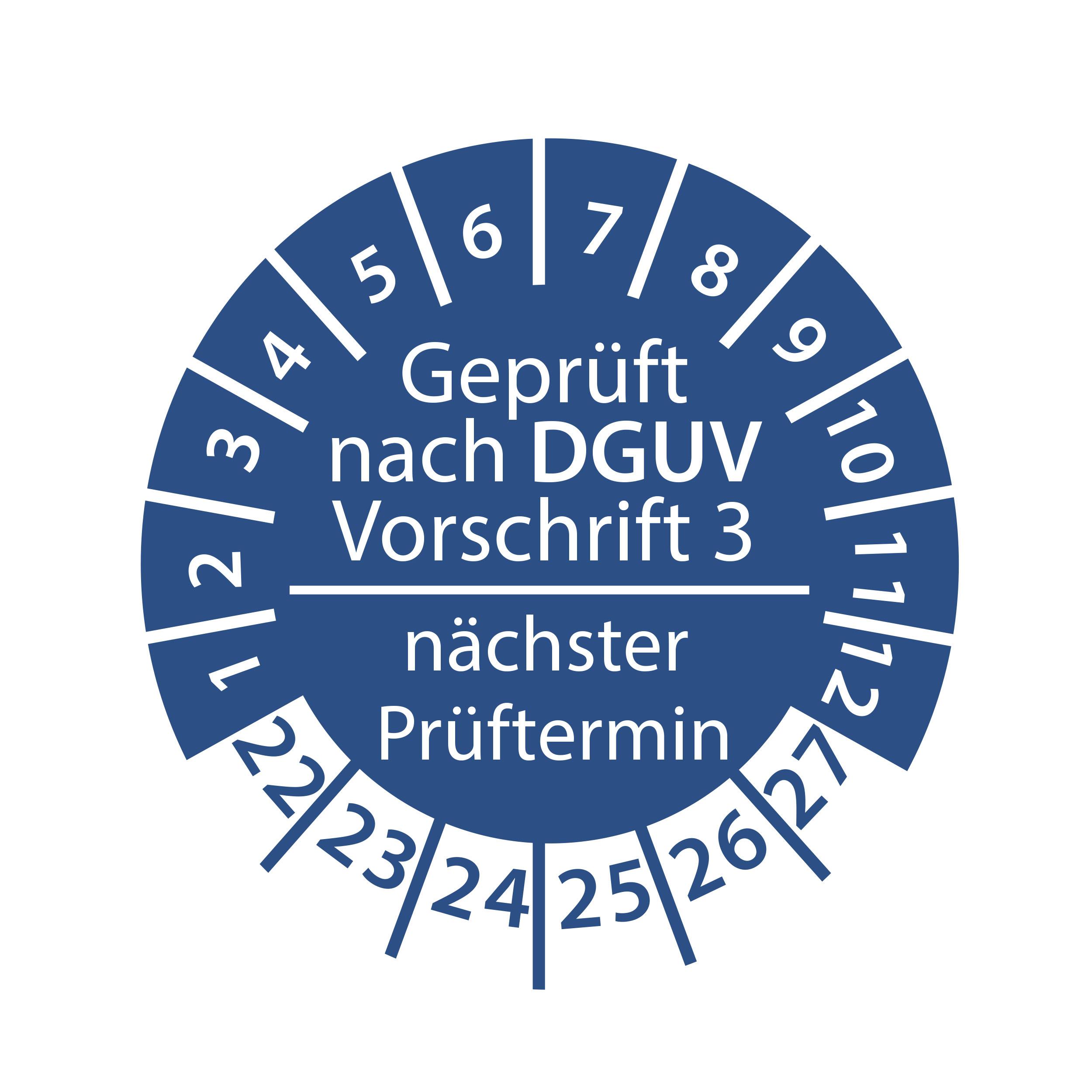 Prüfplakette geprüft nach DGUV Vorschrift 3 nächster Prüftermin 2022-2027 Ø 30mm Rund Gelb/Blau Prüfetikett Prüfaufkleber
