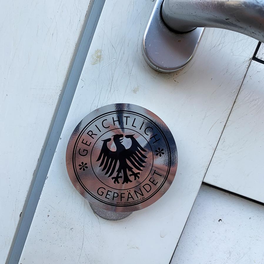 Aufkleber Gerichtlich Gepfändet Kuckuck Pfandhaus Fun Sticker Ø 70mm Vollstreckung Pfändung