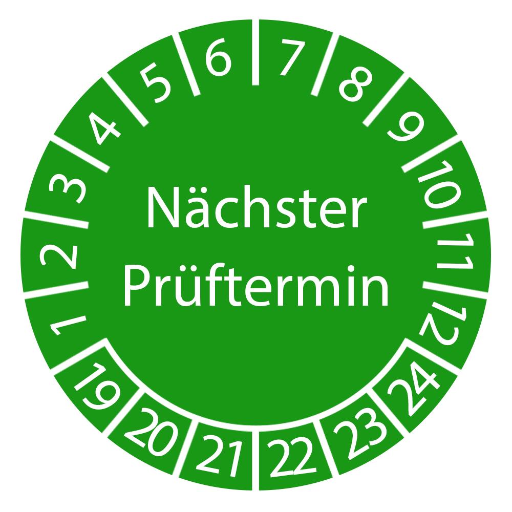 Prüfplakette Nächster Prüftermin 2019 - 2024 3cm rund Grün Vorschrift geprüft