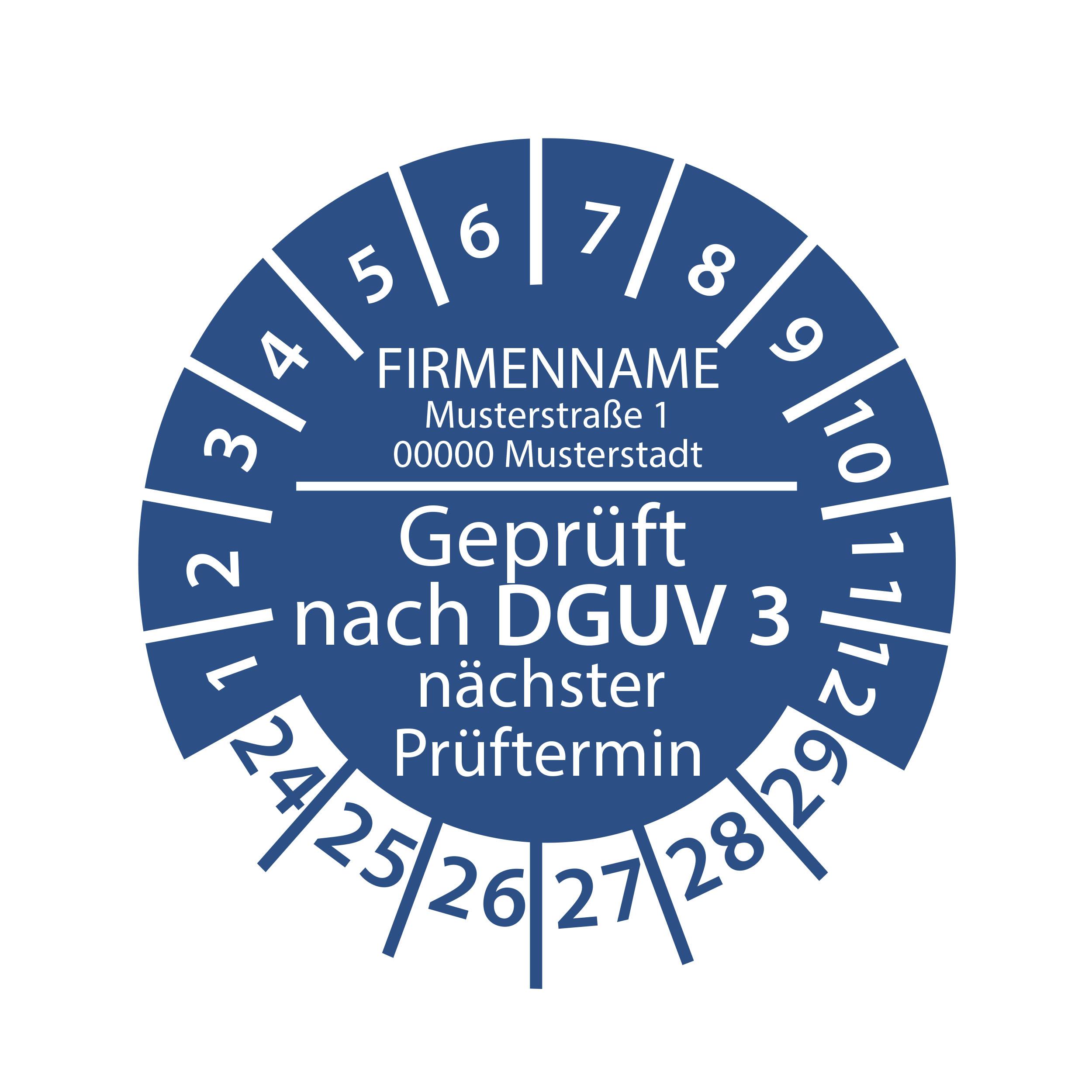 Prüfplakette mit Firmenname - geprüft nach DGUV Vorschrift 3 nächster Prüftermin 2024-2029 Ø 30mm Rund Gelb / Blau