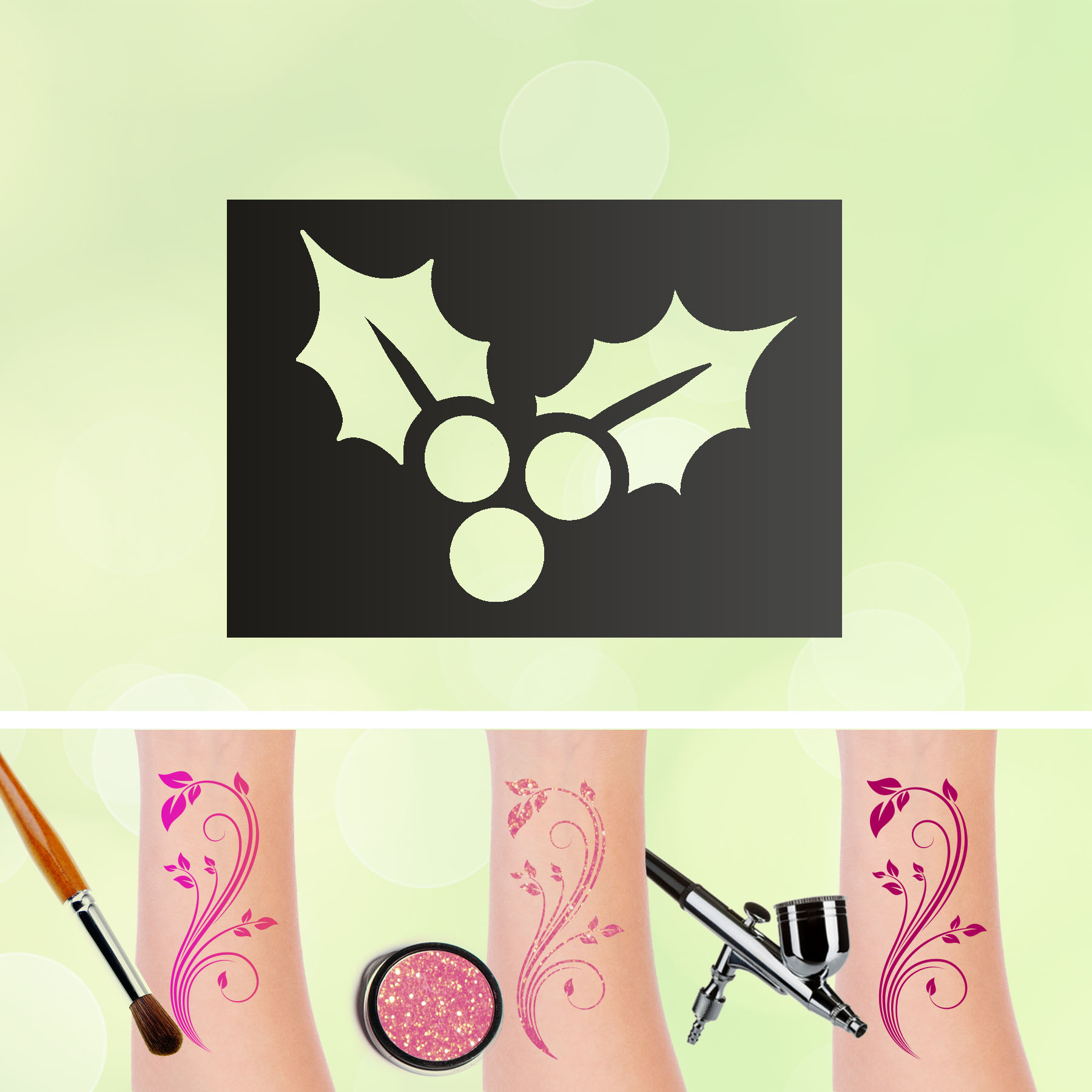Tattoo Schablonen Lorbeerblatt Selbstklebend Kinder Schminken Airbrush