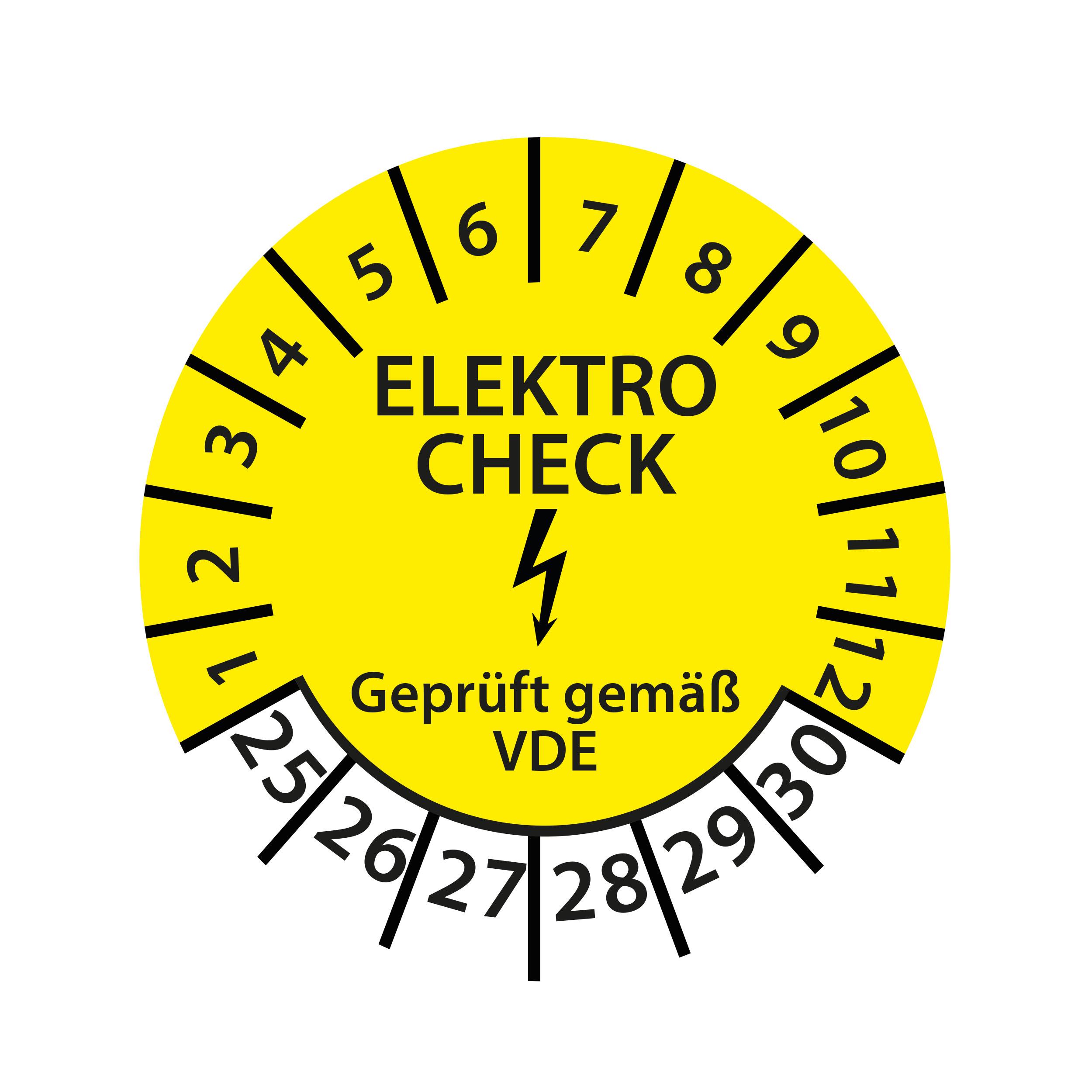 Prüfplakette Elektro Check geprüft gemäß VDE 2025-2030 Ø 30mm Rund Gelb Prüfetikett Prüfaufkleber