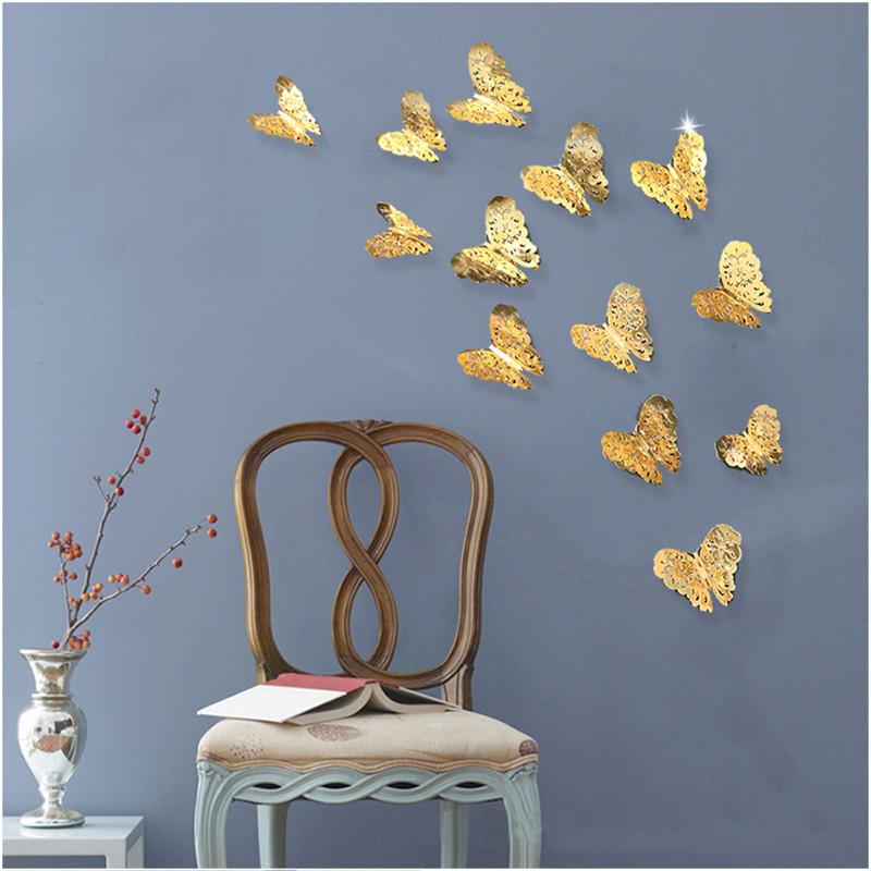 Schmetterlinge 3D Butterfly 12tlg. Wand Aufkleber Dekoration magnetisch selbstklebend