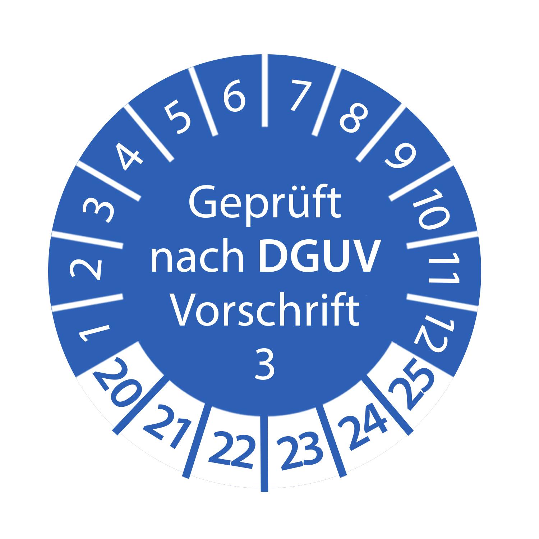 Prüfplakette 3cm rund - Geprüft nach DGUV Vorschrift 3 2020-2025