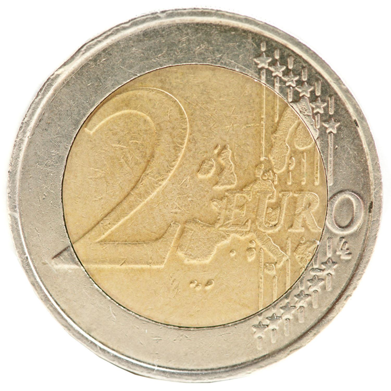 2 Euro Münzaufkleber- FUN Sticker Kleingeld rund ca. Ø 27mm selbstklebend täuschend echt