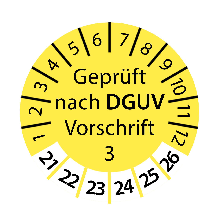 Prüfplakette DGUV Vorschrift 3 2021 - 2026 Ø 2-3cm Rund Gelb Geprüft nach DGUV